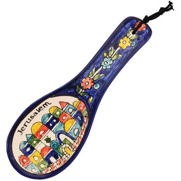 Armenian Ceramic 'Jerusalem' Floral Design Spoon
