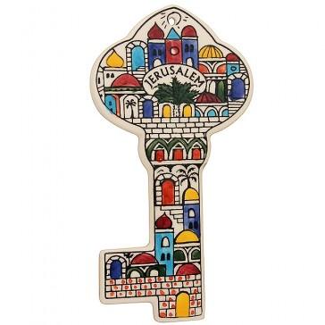 Armenian Ceramic 'Jerusalem Key' Wall Hanging - Handmade in the Holy Land