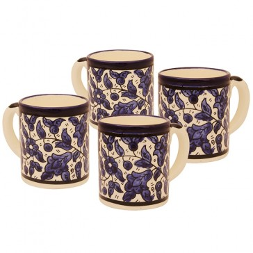 Middle Eastern Coffee Cups Set of 4 - 'Blue Flower' Design - Made in the Holy Land