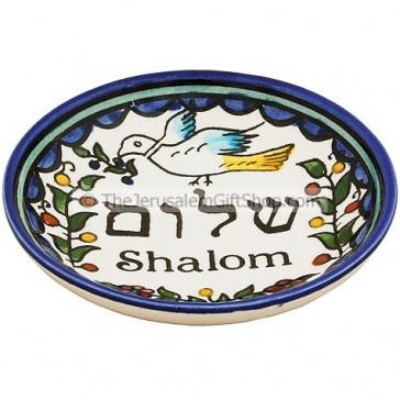 Hand Painted Armenian Ceramic Round Shalom Dish