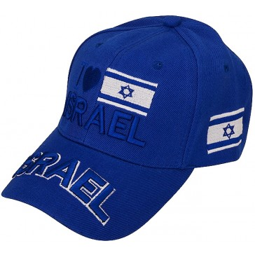 Baseball Cap with 'I Love Israel' a Heart and Israeli Flag - Blue