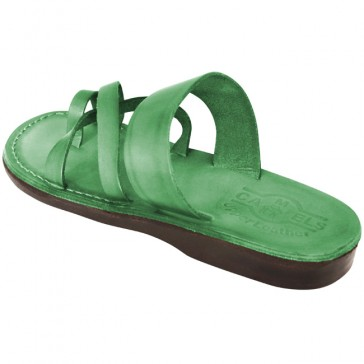 Leather Jesus Sandals - Bethlehem Style - Colored Green
