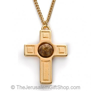 The Rose of Bethlehem Gold Cross Necklace - close