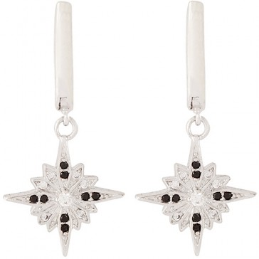 White gold-filled 'Bethlehem Star' Earrings with Zircon