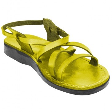 Leather Jesus Sandals - Yeshua Style - Colored Yellow