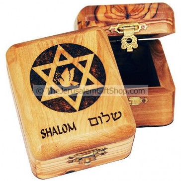 Olive wood Star David Shalom Box