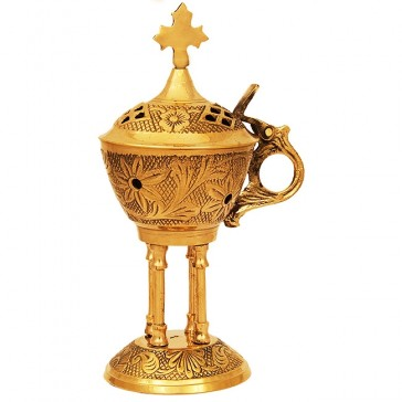 Decorated Brass Incense Burner with Cross and 4 Pillars- Flip Top