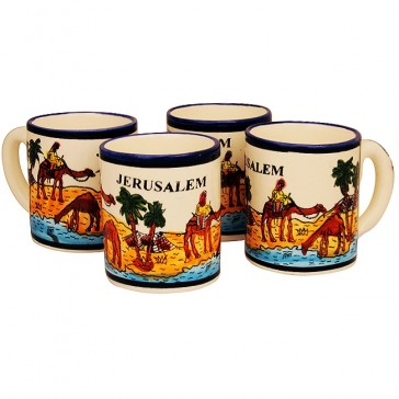 Middle Eastern Coffee Cups Set of 4 - Jerusalem Camels - Made in the Holy Land