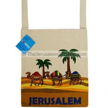 Canvas Shoulder Bag - Jerusalem Camel and Palm Trees