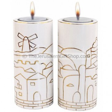 Pair of Jerusalem Ceramic Candle Holders
