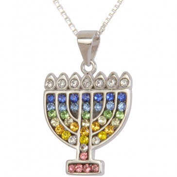 Menorah Embedded with Multi-Colored CZ stones - Sterling Silver Pendant