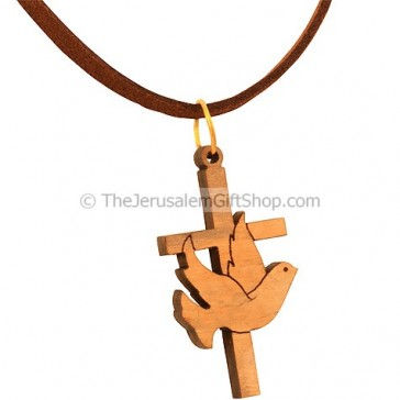 Cross with Peace Dove Olive Wood Pendant