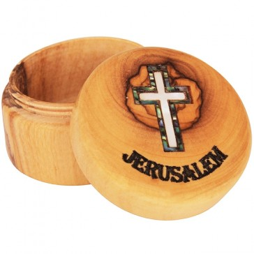 Olive Wood Jewelry Box with Mother of Pearl 'Cross' inlay and 'Jerusalem' Engraving - Round
