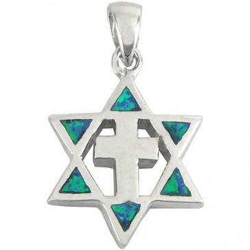 Star of David with Cross - Opal & Sterling Silver Pendant