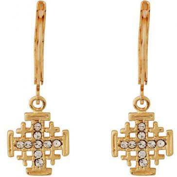 Goldfill Jerusalem Cross Earrings with CZ