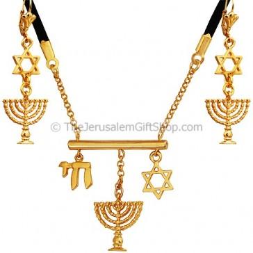 Edita Designs Israeli Pendant Earring Set - Gold Plated