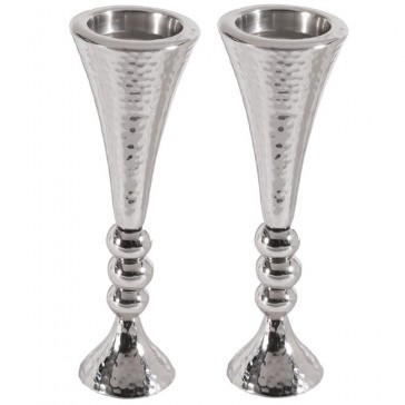 Yair Emanuel Hammered Nickel Candle Holders with Balls - silver