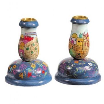 Yair Emanuel Pair of Hand-Painted Candlesticks - Jerusalem (small)
