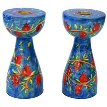 Yair Emanuel Hand-Painted Shabbat Candle Holders - Pomegranates - medium