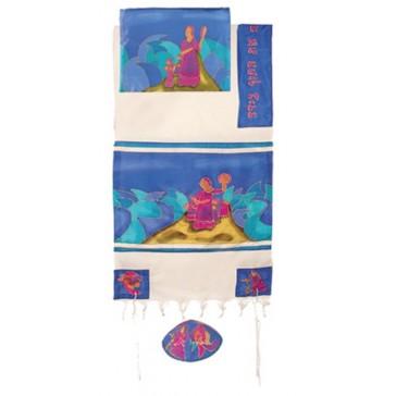 Yair Emanuel 'Miriam and Debora' Hand-Painted Silk Prayer Shawl Tallit Set - Blue and White