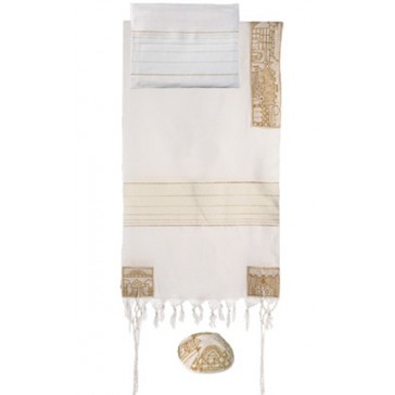 Yair Emanuel 'Jerusalem' Embroidered Cotton Prayer Shawl Tallit Set - Gold
