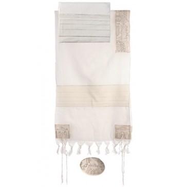 Yair Emanuel 'Jerusalem' Embroidered Cotton Prayer Shawl Tallit Set - Silver