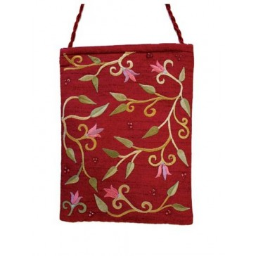 Yair Emanuel Lined Embroidered Bible Bag - Flowers - Magenta