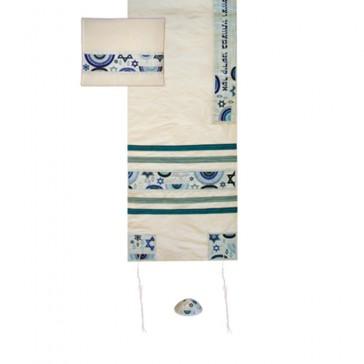 Yair Emanuel 'Jewish Symbols' Embroidered Blended Silk Prayer Shawl / Tallit - Blue