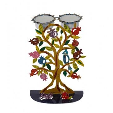 Emanuel Hand Painted Metal Shabbat Candle Holder – Pomegranate Tree
