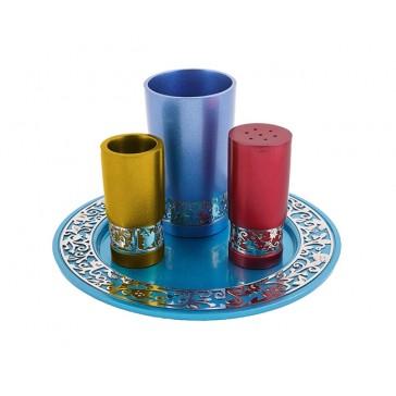 Yair Emanuel Anodized Aluminium Havdalah Set - Pomegranate Cut-Out - Multicolor