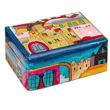 Yair Emanuel Hand-Painted Jewelry Box - Jerusalem (small)