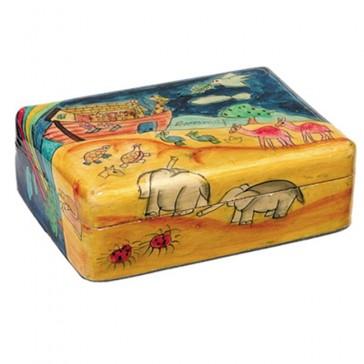 Yair Emanuel Hand-Painted Jewelry Box - Noah's Ark (medium)