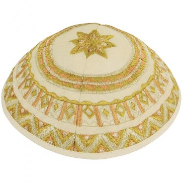 'Emanuel' Gold Silk Thread Pattern Kippa
