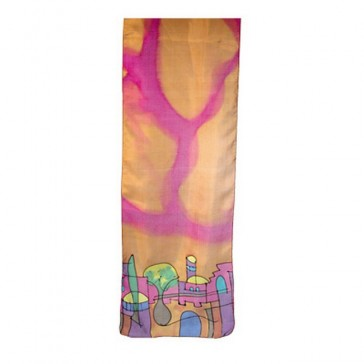 Yair Emanuel Silk Hand Painted Scarf - Jerusalem - Orange