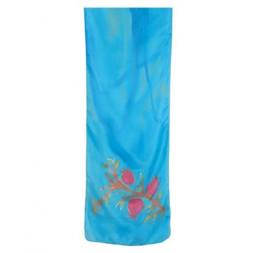 Yair Emanuel Silk Hand Painted Scarf - Pomegranates - Turquoise