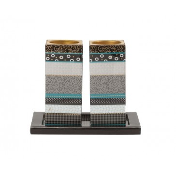 Yair Emanuel Modern Pattern Candle Holders - Shades of Grey
