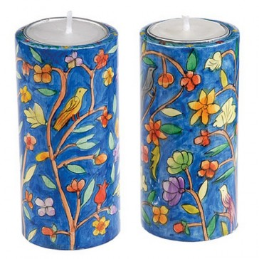 Yair Emanuel Hand Painted Round Candle Holders - Wildlife (large)