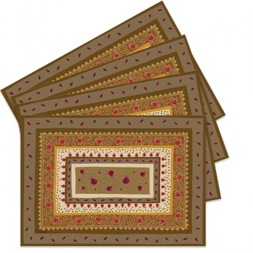 Yair Emanuel Laminated Pomegranate Place-mats - Brown