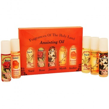 Fragrances of the Holy Land Anointing Oil Set - 20ml Roll-On - 5 Anointing Prayer Oils from Bethlehem - Orange Pack Display