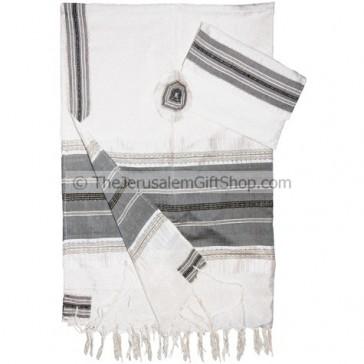 Gabrieli Silk Tallit set - White with Grey stripes Gold thread