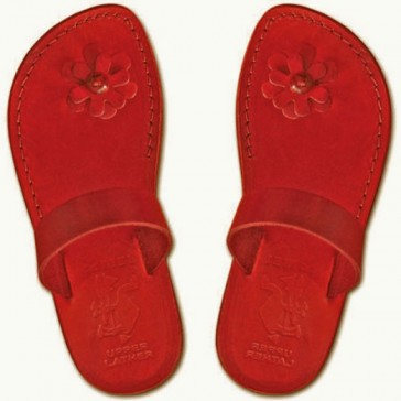 Camel Leather Jesus Sandals - Galilee Lady - Colored Red