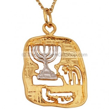 Goldfill Two Tone Menorah with Chai Pendant by 'Marina'