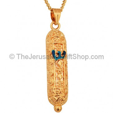 Goldfill Blue Enamel Shin Mezuzah Pendant by 'Marina'