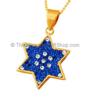 Goldfill 'Blue Sparkle' Star of David Pendant by 'Marina'