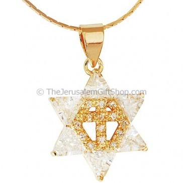 Cross inside Star of David - Gold Fill CZ Stones