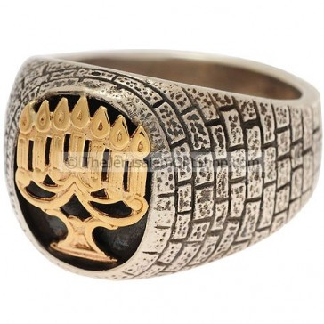 Menorah - Silver Gold Ring