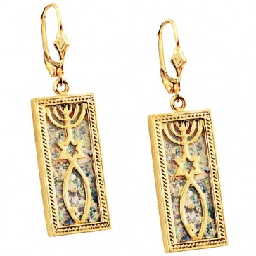 14 Carat Gold Roman Glass 'Grafted In' Messianic Earrings
