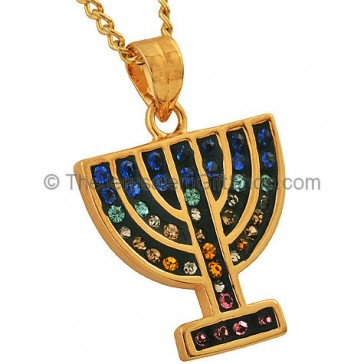 Goldfill Menorah Pendant with mixed Zircon by 'Marina'