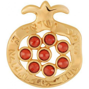 Goldfill 'Shema Yisrael' Pomegranate 8 Red Garnet Pendant by Marina