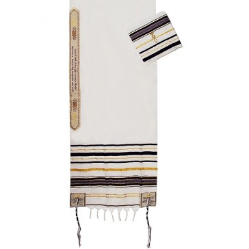 'Grafted In' Messianic Prayer Shawl Tallit - Purple and Gold